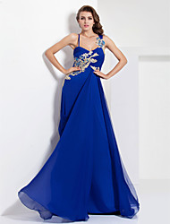 A-line Spaghetti Straps Floor-length Chiffon Jersey Evening/Prom Dress