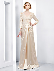 Formal Evening/Military Ball Dress - Champagne Plus Sizes Sheath/Column V-neck Floor-length Stretch Satin