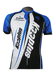 Kooplus-Men's 100% Polyester Short Sleeve Cycling Jersey (Blue and Black)