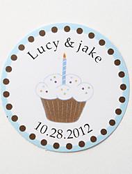 personalizados adesivo favor - bolo branco (conjunto de 36)