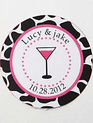 personalisierte Runde Bevorzugungsaufkleber - pink Cocktailglas (Satz 36)
