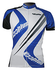 Kooplus-Men's 100% Polyester Short-Sleeve Cycling Jersey (Blue and White)