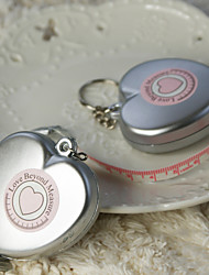"""Love Beyond Measure"" Heart Shaped Measuring Tape Keychain in Sheer Organza Bag"
