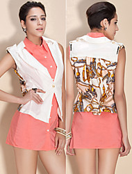 TS Baroque Style Chain Print Lapel Vest With Belt
