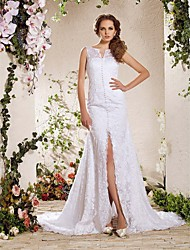Lanting A-line/Princess Plus Sizes Wedding Dress - White Chapel Train V-neck Lace