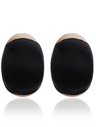 Plaqué or 18k fabuleuses boucles d'oreilles noires de mode d'onyx