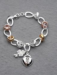 Beautiful Silver Plated Colorful Rings Key&Lock Charm Women's Bracelet