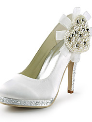 Satin Stiletto Heel Platform Pumps With Rhinestone / Pearl Wedding Shoes (More Colors)