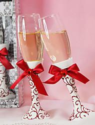 rouge à motif floral flûte grillage mariage établi à l'arc de satin rouge