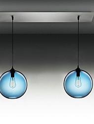 2 - Light Modern Glass Pendant Lights in Round Blue Bubble Design