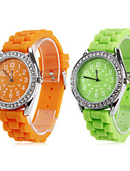 Women's Quartz Analog Diamond Case Silicone Band Wrist Watch (Assorted Colors) Cool Watches Unique Watches