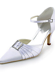 Satin Stiletto Heel Pointy Toe Pumps With Rhinestone Wedding Shoes (More Colors)