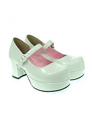 Zapatos Lolita Clásica y Tradicional Lolita Tacón alto Zapatos Un Color 7.5 CM Rojo / Blanco / Negro / Rosado Para MujerCuero