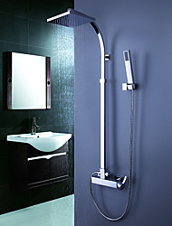 Contemporary Tub Shower Faucet with 8 inch Shower Head + Hand Shower