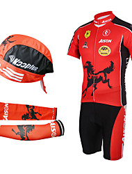 Cycling BIB Suits with Head Scarf and Arm Warmers(Red and Black)