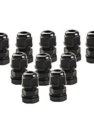 10 штук pg7 черного пластика водонепроницаемые разъемы кабельные вводы для поделок