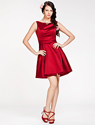 Lanting Bride® Short / Mini Satin Bridesmaid Dress A-line / Princess Bateau Plus Size / Petite with Sash / Ribbon