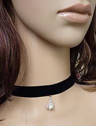 de veludo preto e prata sino gothic lolita colar