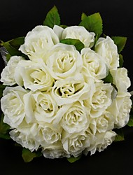 "Wedding Flowers Round Roses Bouquets Wedding Satin / Cotton Ivory 11.02""(Approx.28cm)"