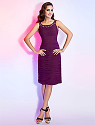 TS Couture® Cocktail Dress - Short Plus Size / Petite Sheath / Column Scoop Knee-length Chiffon with Beading / Draping / Ruching