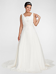 LAN TING BRIDE Plus Size A-line Wedding Dress Chapel Train Square Chiffon with Appliques Beading Draped