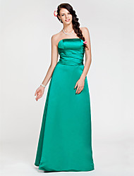 Floor-length Satin Bridesmaid Dress - Jade Plus Sizes A-line/Princess Strapless