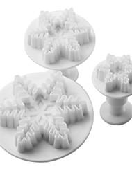 hópehely minta torta és cookie-vágó szerszám dugattyúval (3 db)