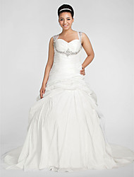 LAN TING BRIDE Plus Size Ball Gown Wedding Dress - Chapel Train Sweetheart Taffeta with Beading Criss-Cross