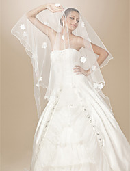 de un nivel de lápiz de tul borde vals boda velo con flores de satén / perlas