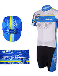 Cycling BIB Suits with Cap and Arm Warmers(Blue and Yellow)