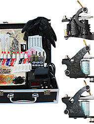 3 ghisa tatuaggio pistola kit di alimentazione della macchina con la parte superiore della qualità dell'alimentazione lcd