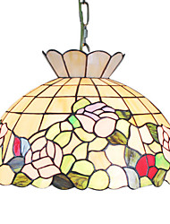 Tiffany Glass Pendent Lights with 2 Lights in Floral Design Shade