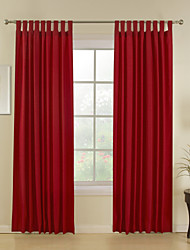 Two Panels Red Stripe Poly  Cotton Blend Window Curtains Drapes