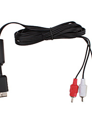 Replacement Composite Video and Audio AV-Out Cable for PS2 (1.85M-Length)