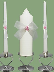 Pink Rose Wedding Unity Candles Set-White (Candle Holders Not Included)
