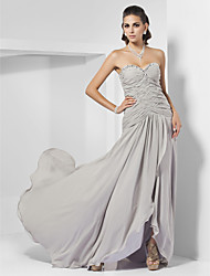 Formal Evening Dress - Silver Plus Sizes Sheath/Column Sweetheart/Strapless Sweep/Brush Train Chiffon