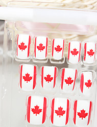 Full Cover Flag Of Canada Style Acrylic Nails & Tips With Nail Glue