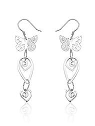 Charme Sterling Silver Boucles d'oreilles papillon conception de baisse