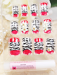 Full Cover Red Leopard Pattern Style Acrylic Nails & Tips With Nail Glue