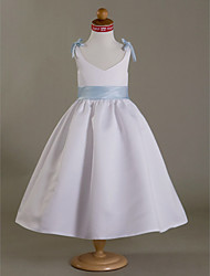 A-line Princess Tea-length Flower Girl Dress - Satin V-neck with Bow(s) Flower(s) Ruffles Sash / Ribbon