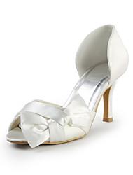 peep toe de tacón de aguja sandalias del talón de satén de las mujeres con los zapatos bowknot Fiesta y Noche