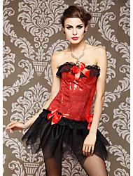 Lantejoula Com bowknot / Laço Strapless Lace-up Shapewear Espartilhos (mais cores)