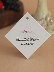 Personalized Rhombus Favor Tag - Wedding Dress (Set of 30)