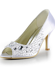 Satin Stiletto Heel Pumps With Beading / Crystal Wedding Party Women's Shoes