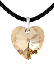 lega e cristallo perfetta forma collana cuore platinato
