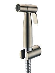 contemporânea de aço inoxidável escovado níquel acabamento torneira bidé sem mangueira de alimentação e suporte de chuveiro