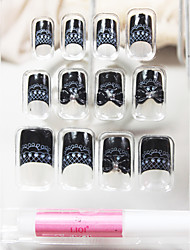 Full Cover Classical Black Lace Bowknot Style Acrylic Nails & Tips & Tips With Nail Glue