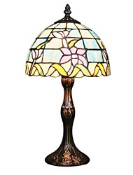 60W Tiffany Glass Table Light with Shade in Lotus Pattern