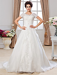 Lan Ting A-line Plus Sizes Wedding Dress - Ivory Chapel Train Off-the-shoulder Organza