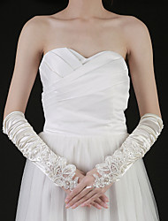 Elbow Length Fingertips Glove - Satin Bridal Gloves